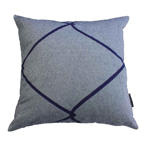 WIRED SQUARE CUSHION / 45x45 / Blue on Denim