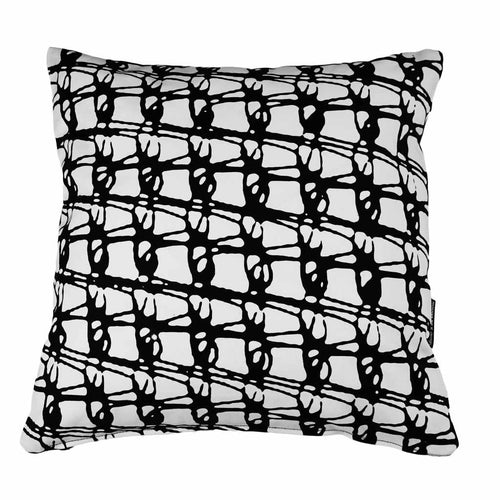 WEAVE SQUARE CUSHION / 45x45 / Black on White
