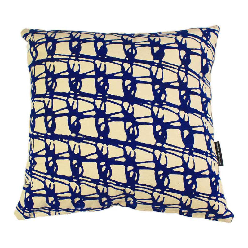 Cushion_Natural canvas fabric_ blue weave pattern_Rough Silk Design