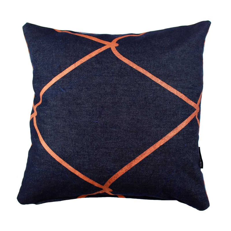WIRED-WEAVE SQUARE CUSHION / 45x45 / Copper on Denim