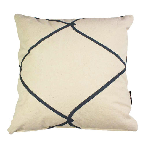 WIRED SQUARE CUSHION / 45x45 / Grey on Natural