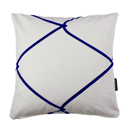 WIRED SQUARE CUSHION / 45x45 / Blue on White