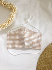 Beige Gingham Face Mask