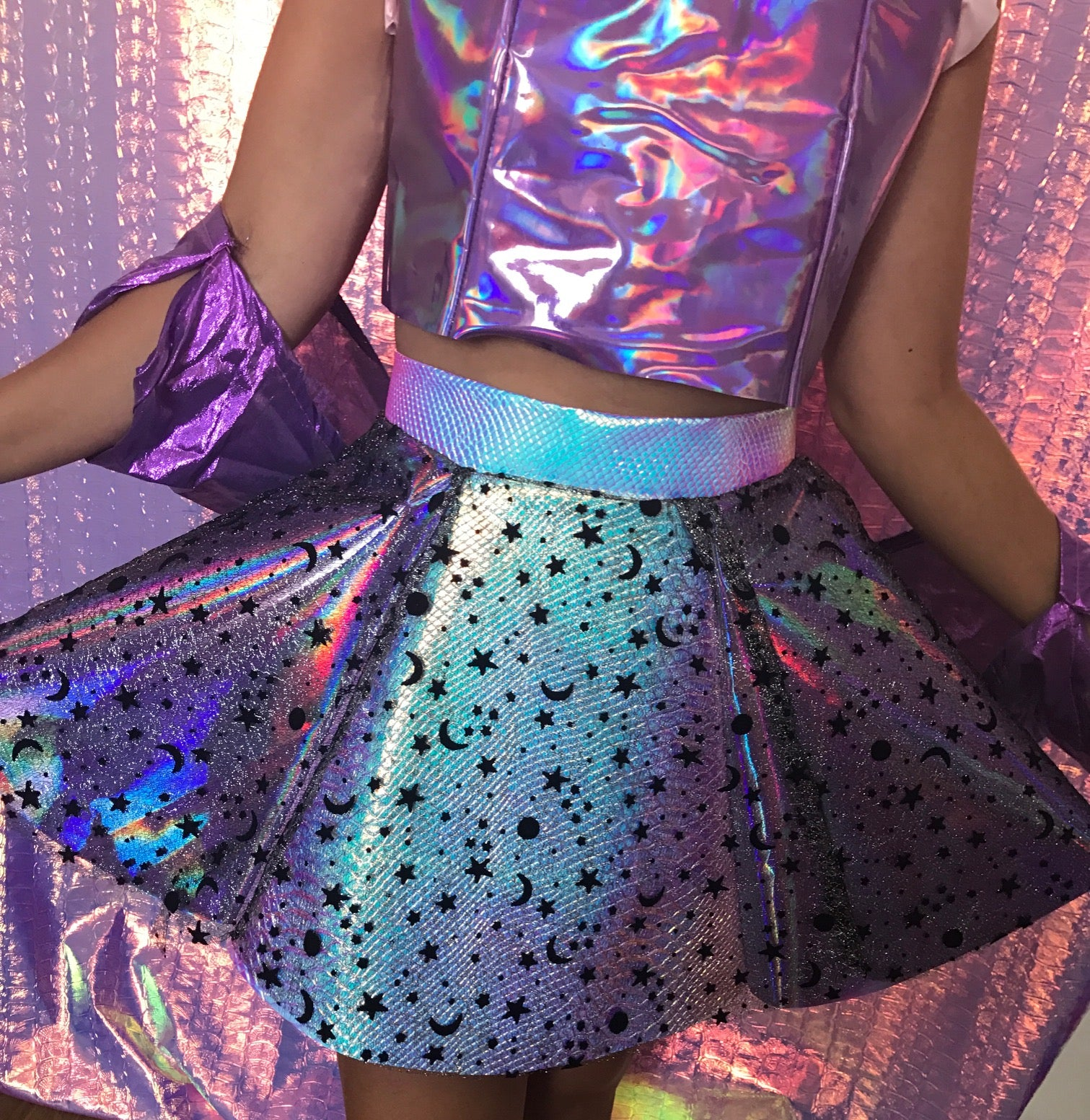Holographic Moon Star Skirt