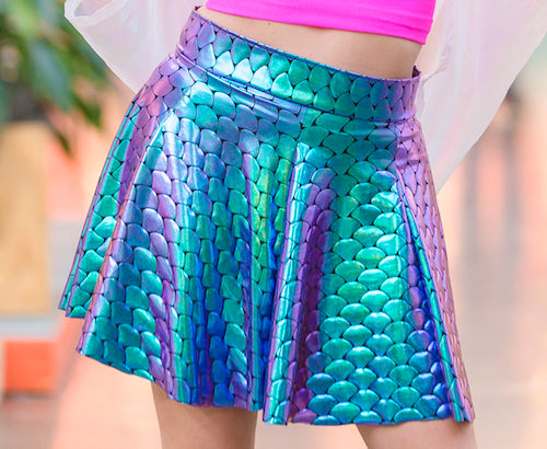 Mermaid Green Stretch Holographic Skirt