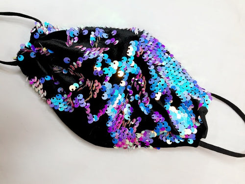 Black Iridescent Sequin Mask