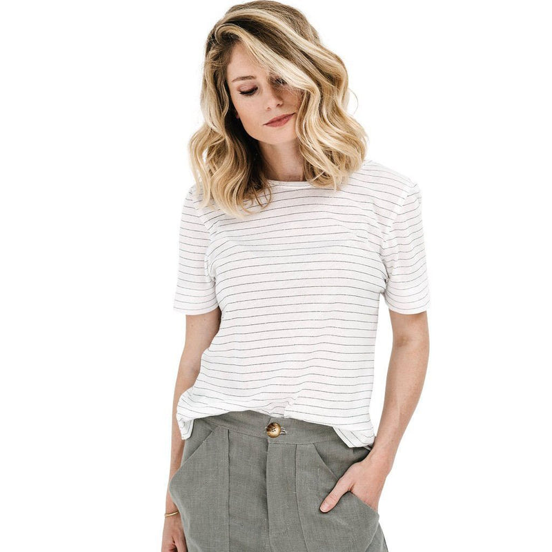 claudette pull over | white stripe