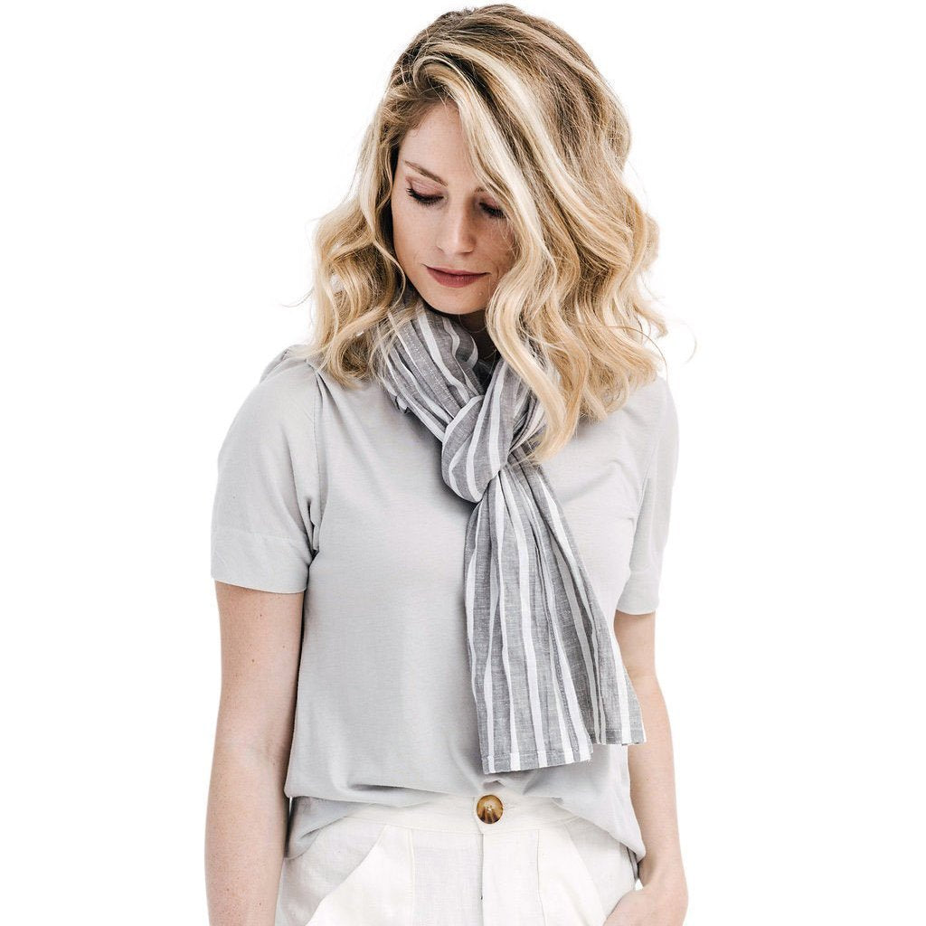 claudette scarf | grey stripe