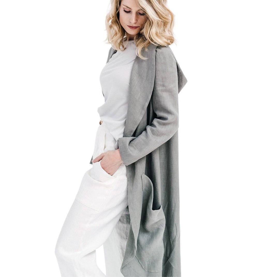 claudette duster | grey linen
