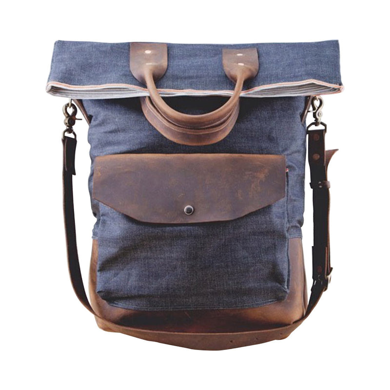 fold-top messenger | indigo + chocolate