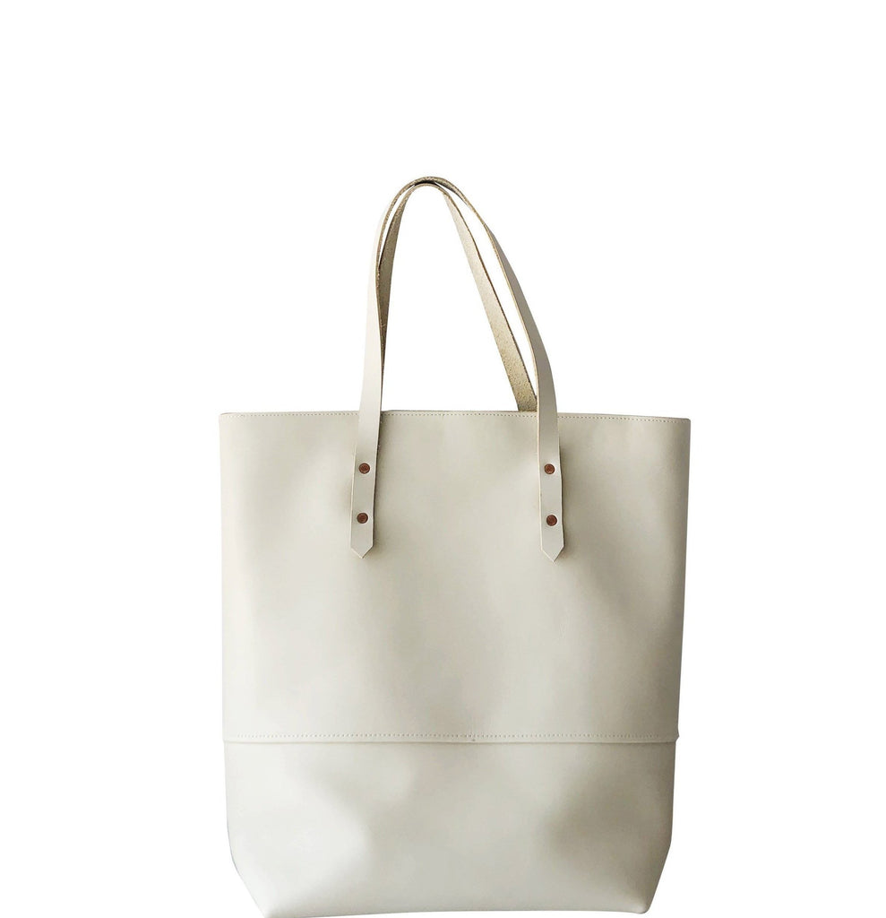 all leather mills tote | beige