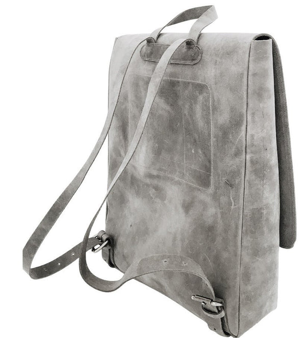 all leather rucksack | grey