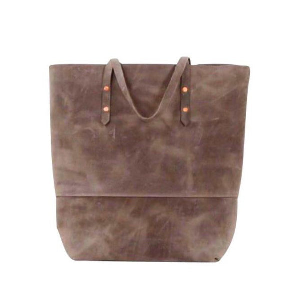 all leather mills tote | chocolate