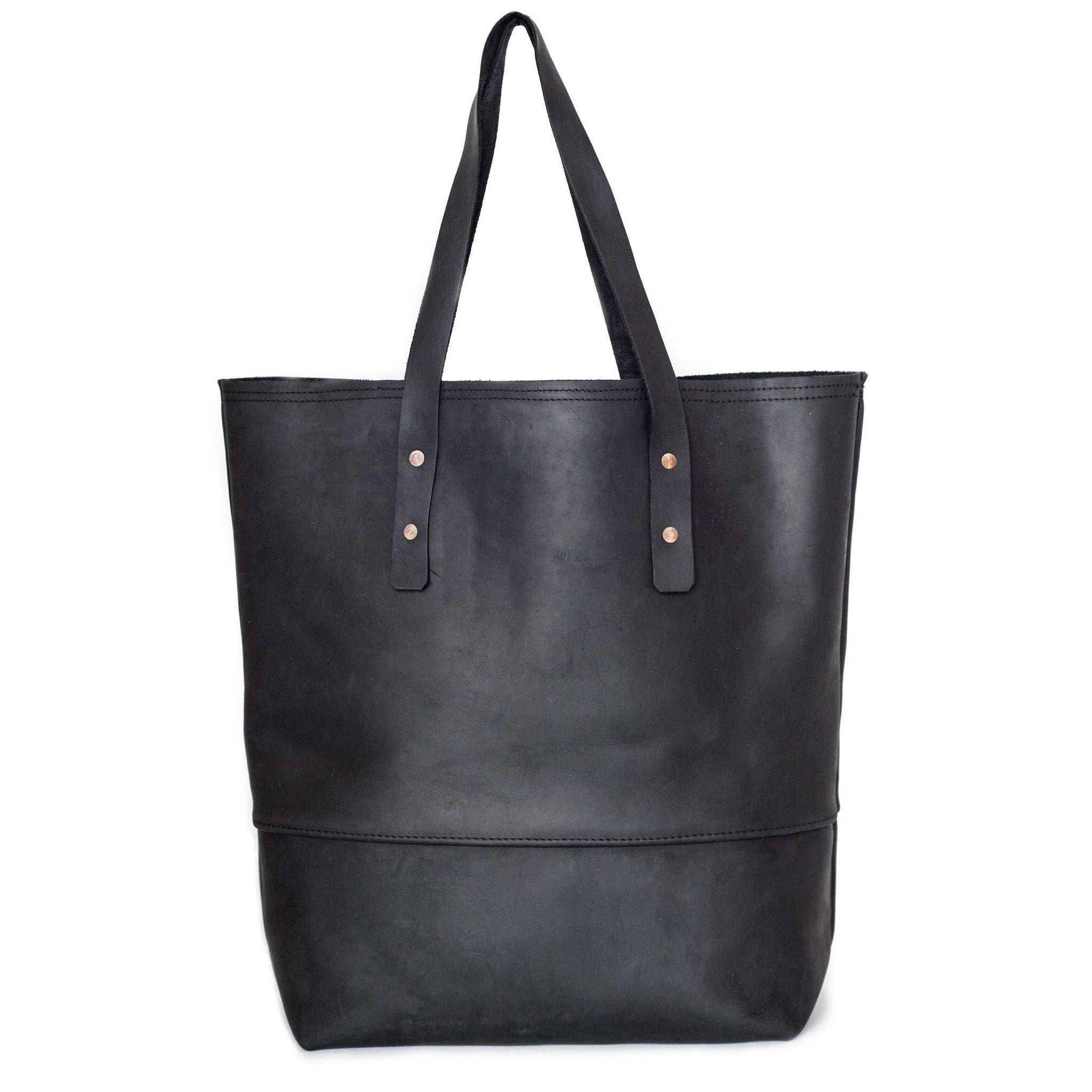 all leather mills tote | black