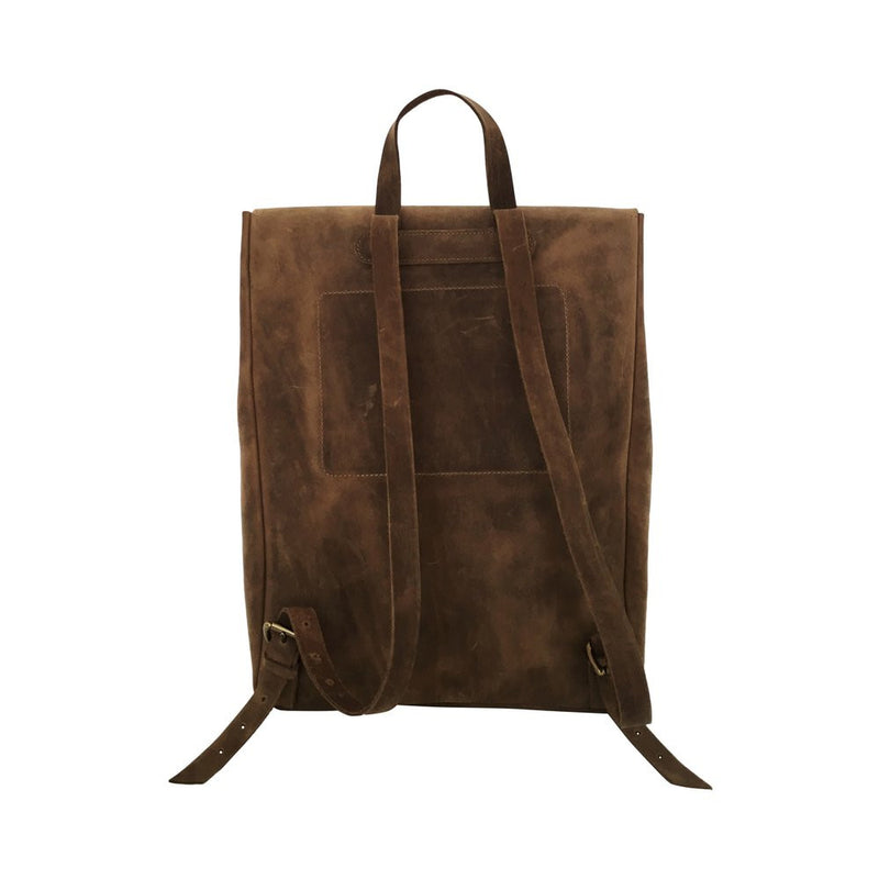 all leather rucksack | chocolate