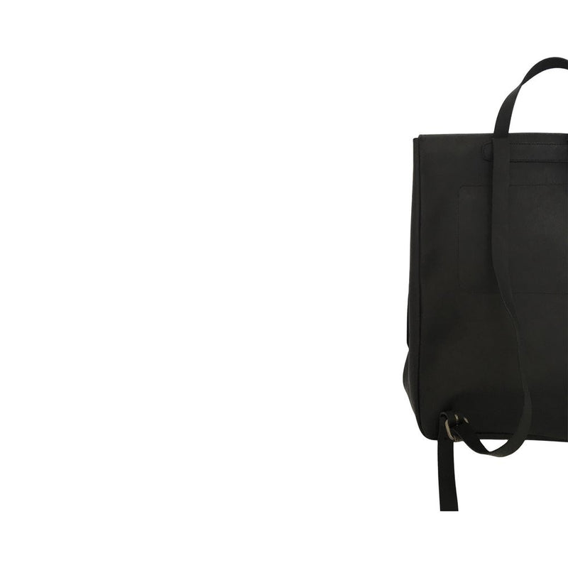 all leather rucksack | black