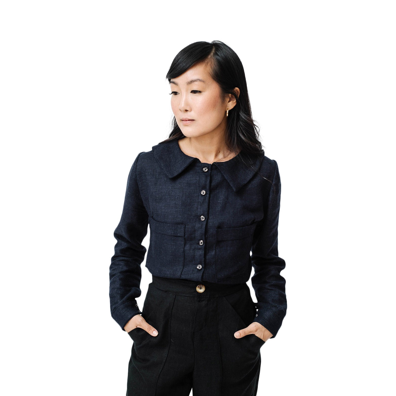button up blouse | navy
