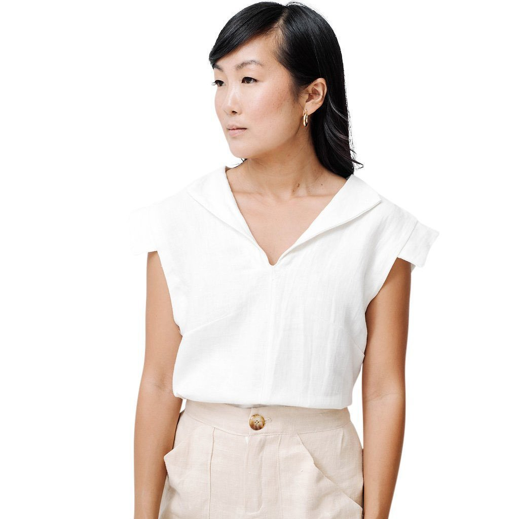 claudette cap sleeve blouse | white linen