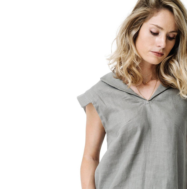 claudette cap sleeve blouse | grey linen
