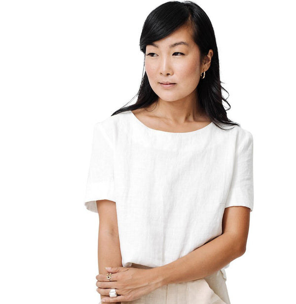 claudette tie back blouse | white linen