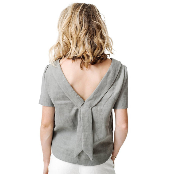 claudette the one blouse | grey linen