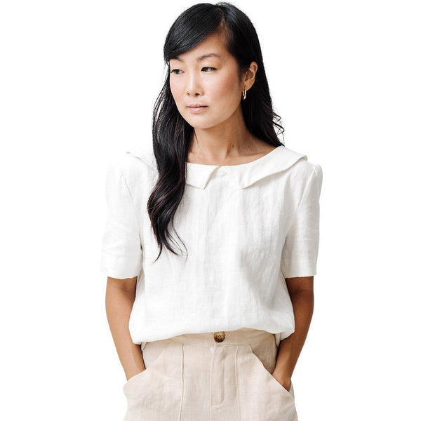 claudette the one blouse | white linen