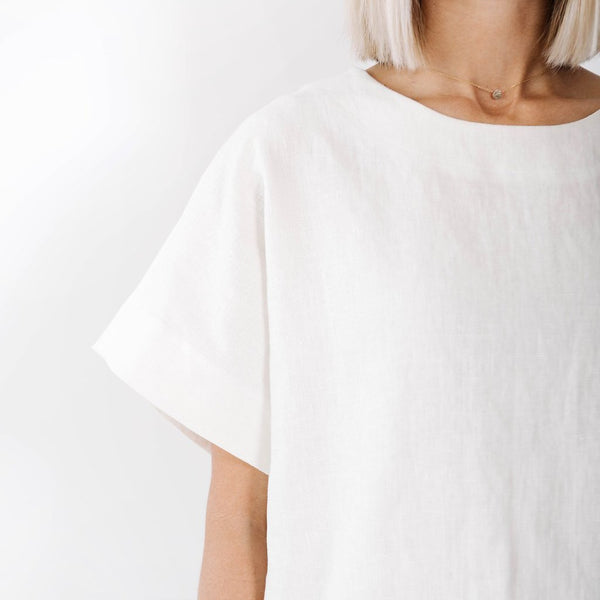 claudette box top | white linen