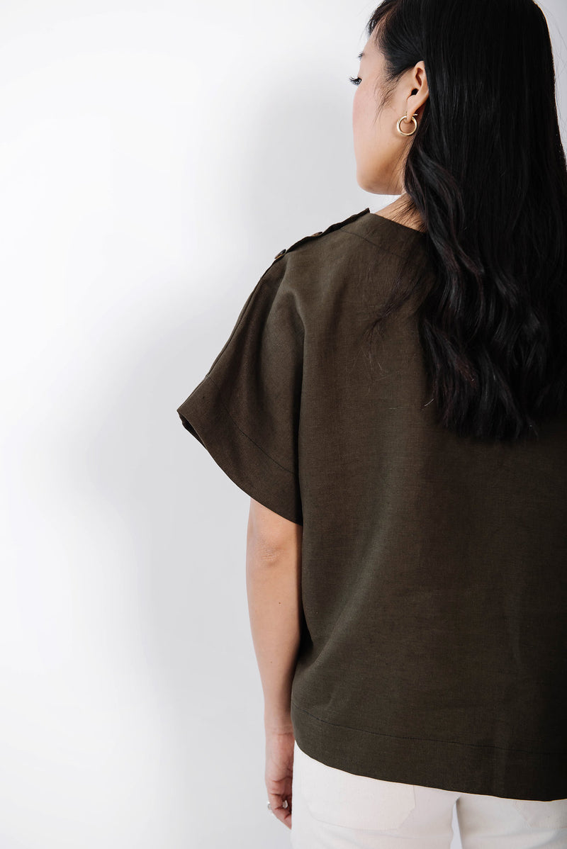 james box top | olive linen