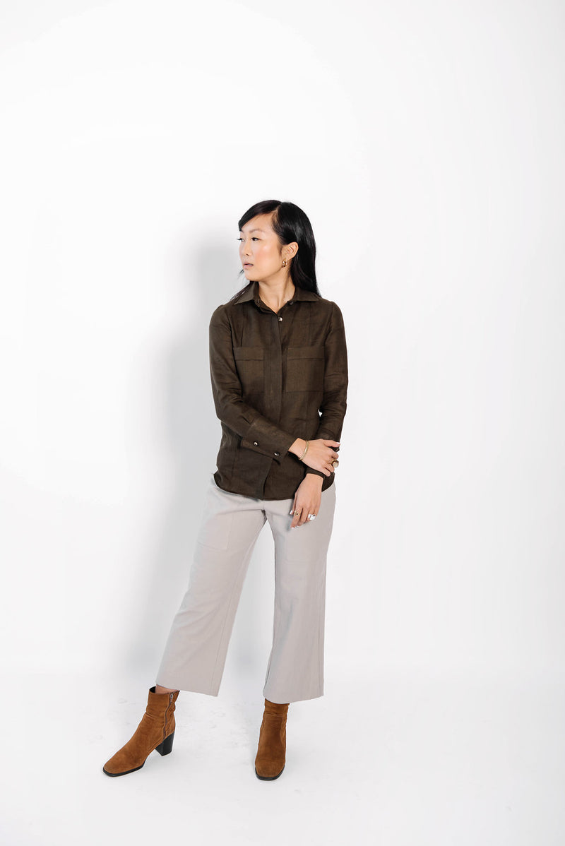 james panel button up blouse | olive linen