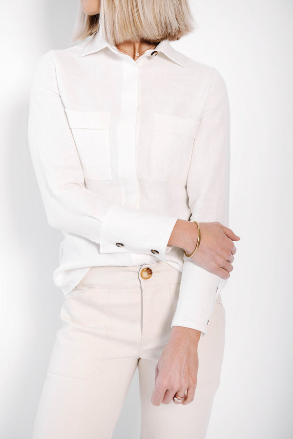 james button up blouse | white linen