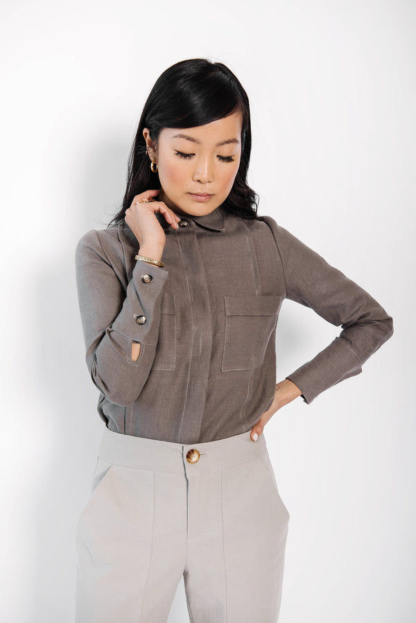 james panel button up blouse | grey linen