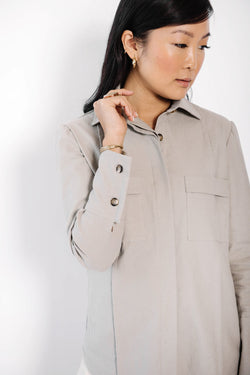 james panel button up blouse | clay linen