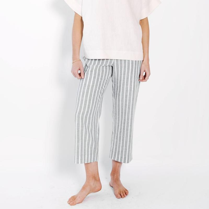 claudette capri trouser | grey stripe