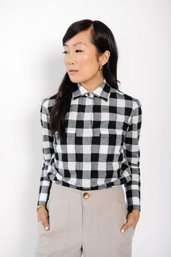 james button up blouse | check