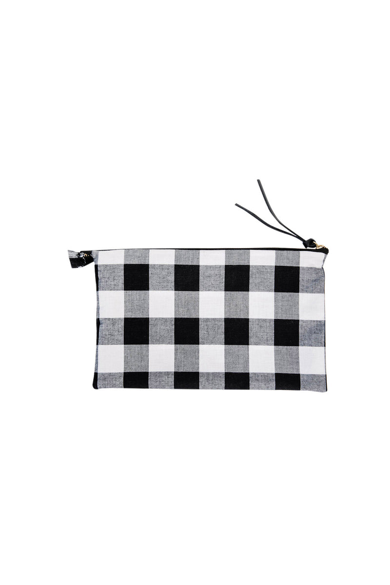 james petite zippy clutch | check