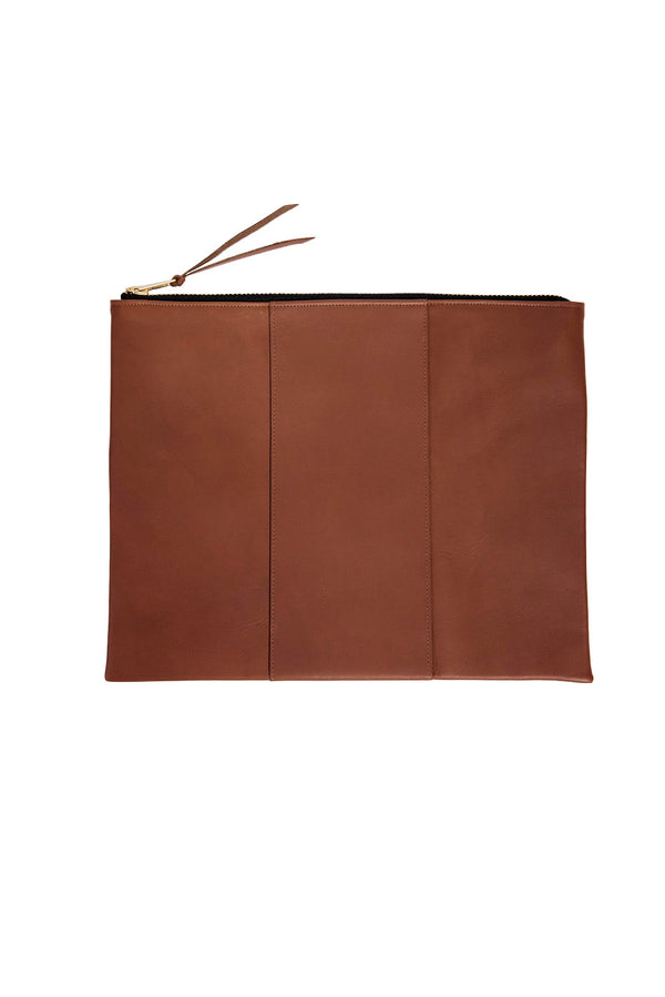 james grande panel zippy clutch | cognac