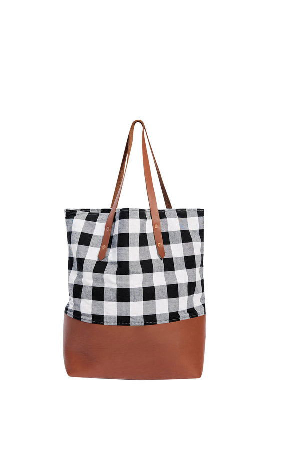 classic mills tote | check + cognac