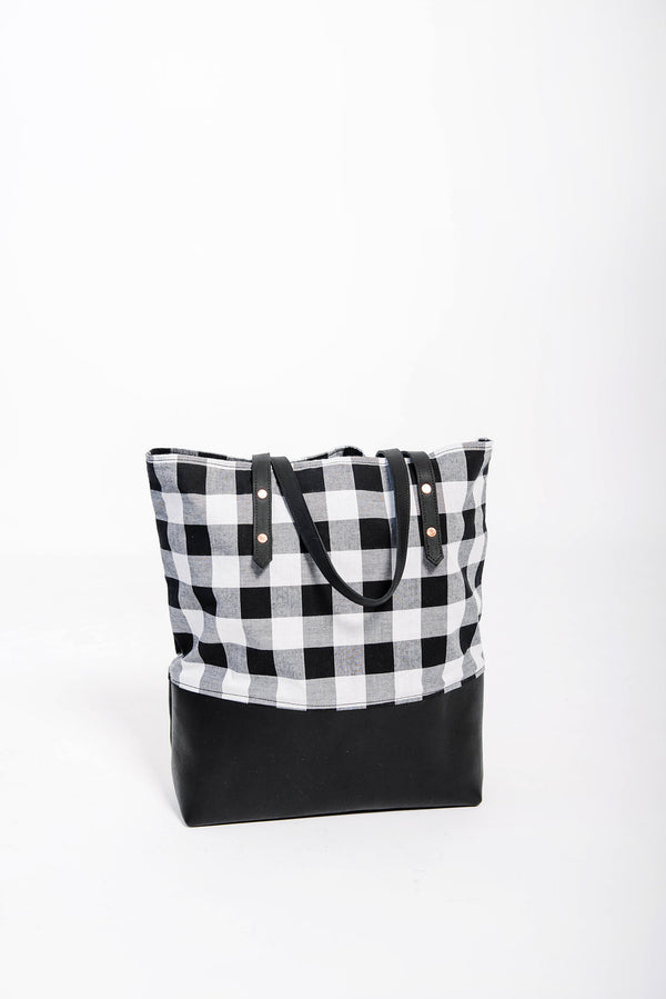 james classic mills tote | check + black