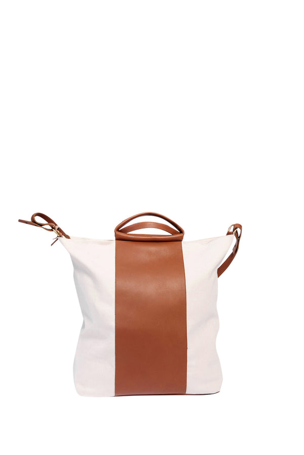 james grande two tone work bag | oatmeal + cognac