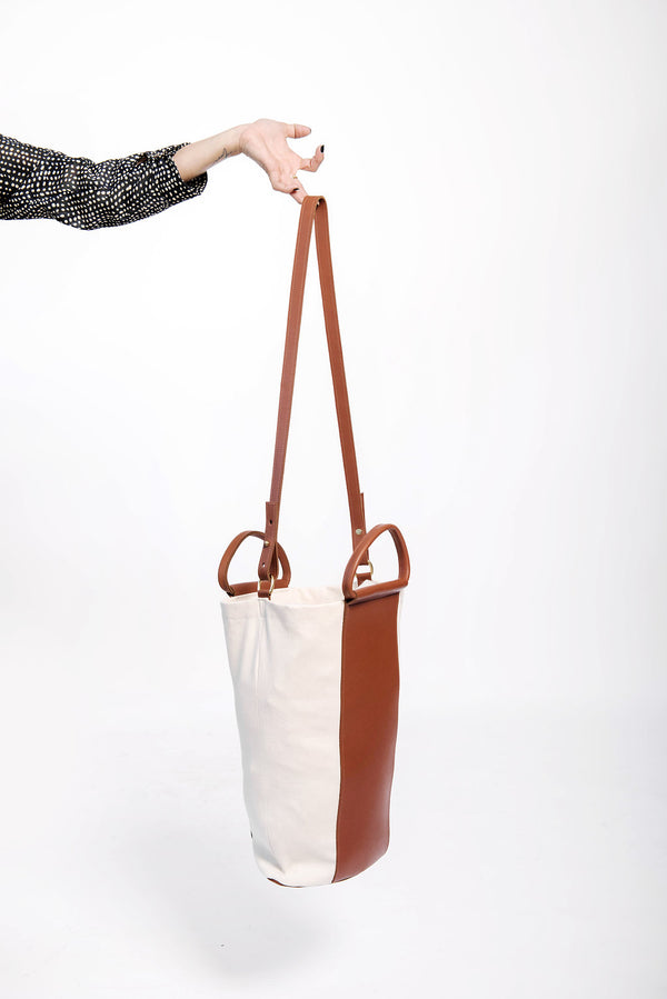 two tone panel tote | oatmeal denim + cognac