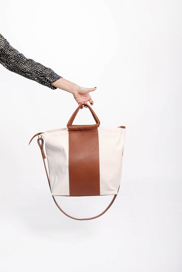 petite two tone work bag | oatmeal + cognac
