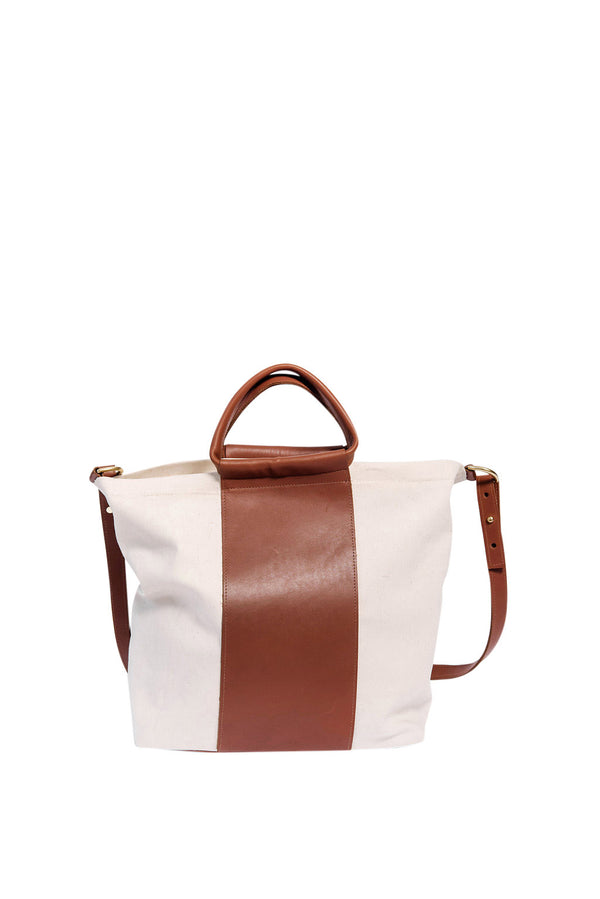 james petite two tone work bag | oatmeal + cognac