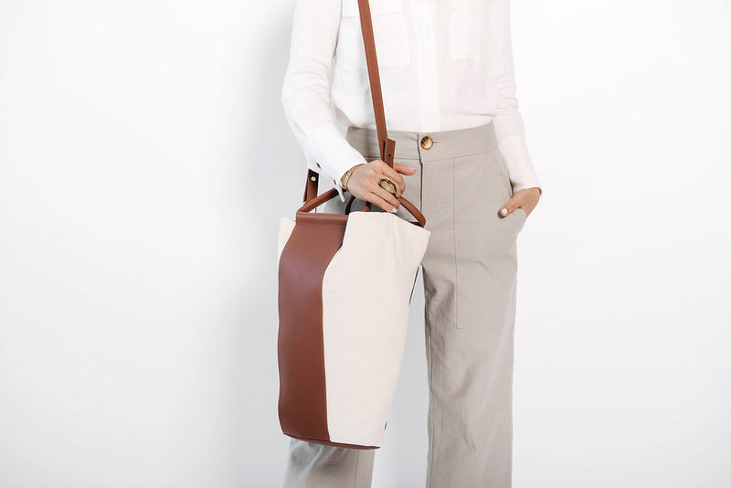 james two tone panel tote | oatmeal denim + cognac