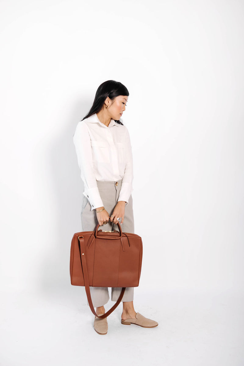 james briefcase | cognac