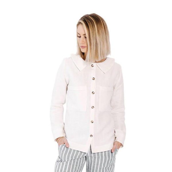 claudette button up blouse | white linen