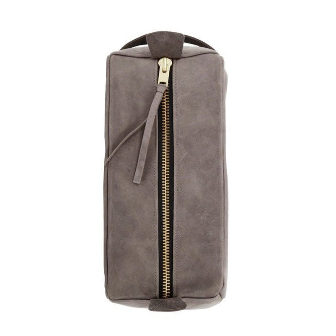all leather dopp kit | grey