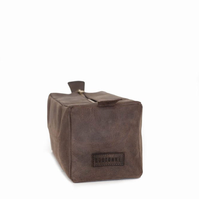 all leather dopp kit | chocolate