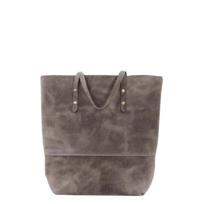 all leather mills tote | grey