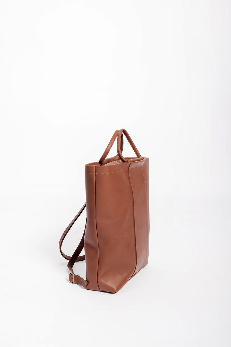 panel diaper bag rucksack | cognac