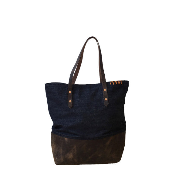 speak your silence | mills tote | indigo + chocolate